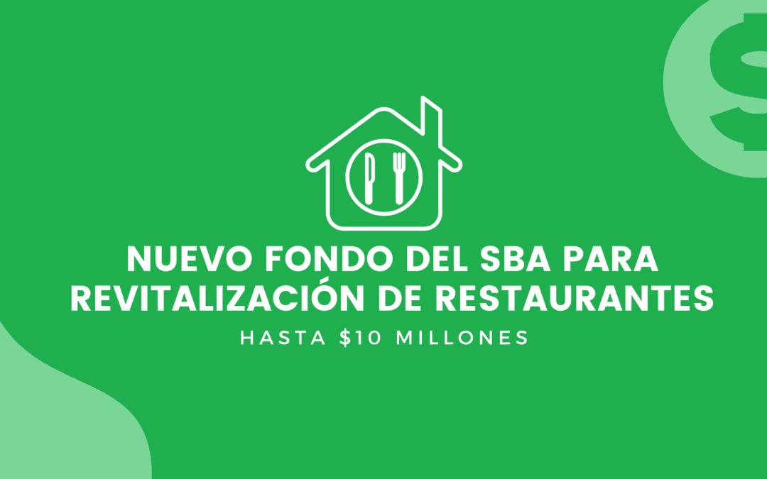 Nuevo fondo del SBA para revitalización de restaurantes: Hasta $10 Millones
