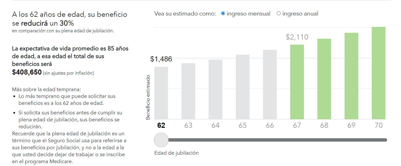 Ejemplo de valor de pensión a los 62 años